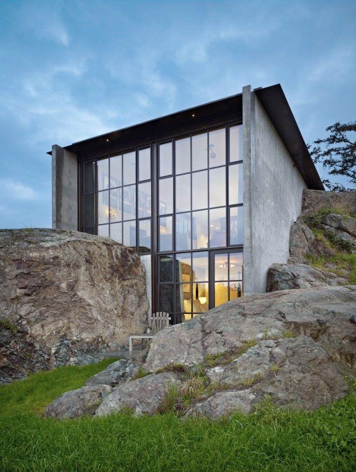 rocks, concrete, and glass