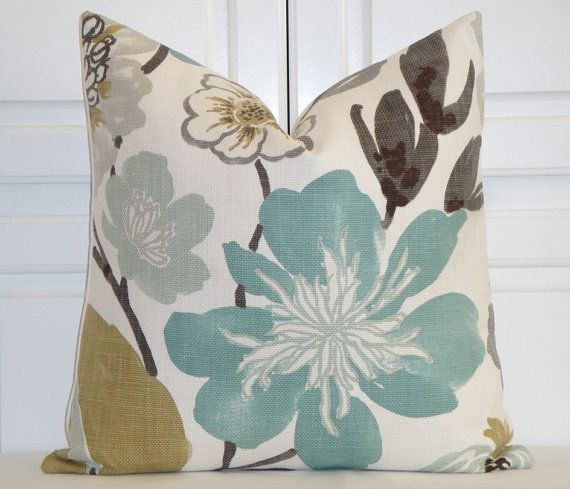 "Decorative Pillow Cover - 18"", 20"", 22"", 24"" - Accent Pillow - Teal - Aqua Green - Brown - Tan - Large Floral"