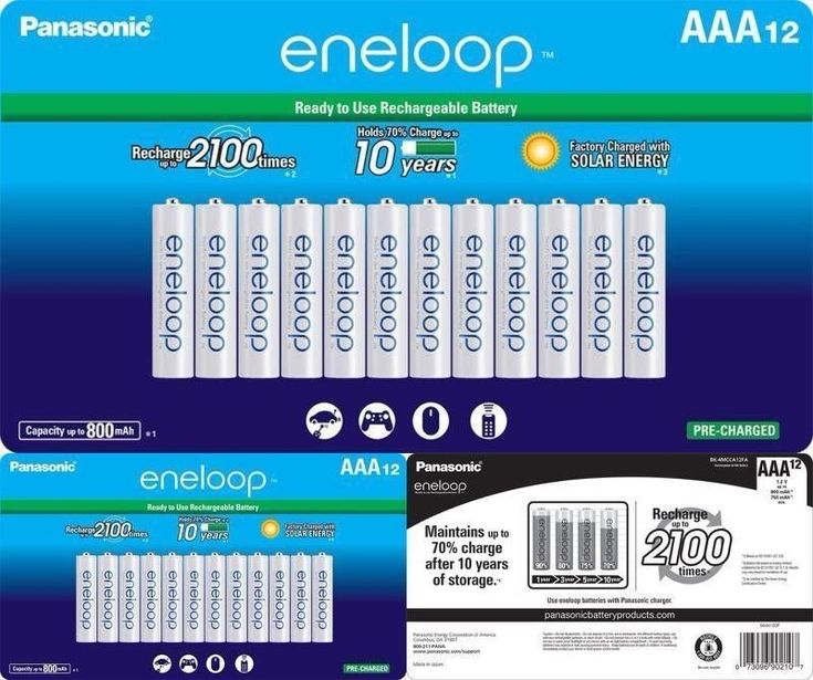 AAA Rechargeable Batteries Eneloop (800mAh)-2100 Cycle Ni-MH Pre-Charged 12 Pack #Panasonic