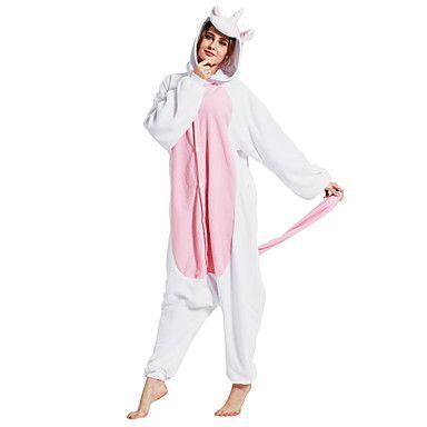 Kigurumi Pajamas Unicorn Onesie Pajamas Costume Polar Fleece Pink Cosplay For Adults' Animal Sleepwear Cartoon Halloween Festival /