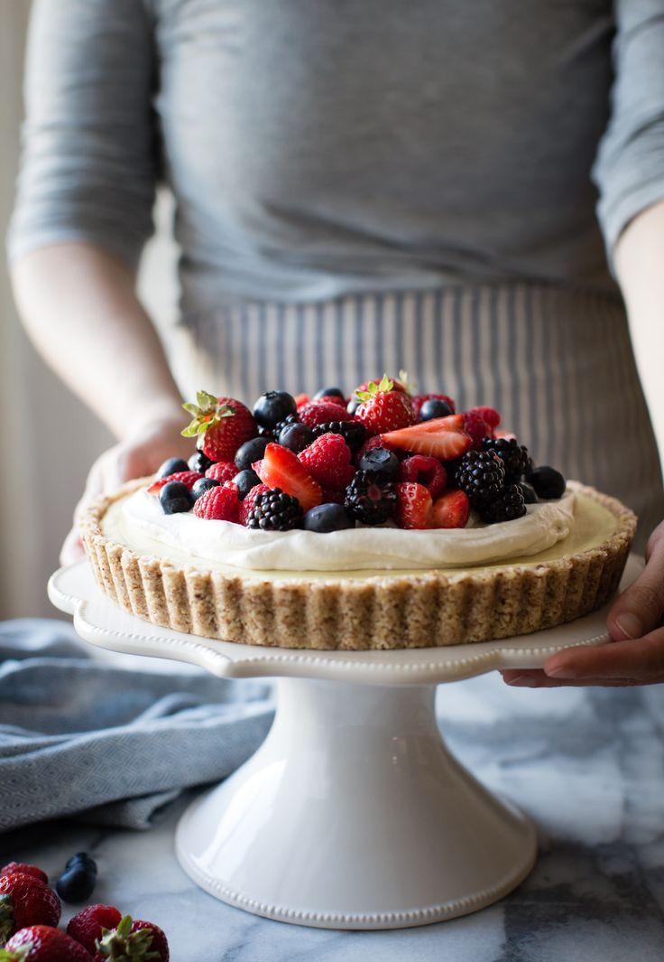 No-Bake Lemon Berry Coconut Cream Tart