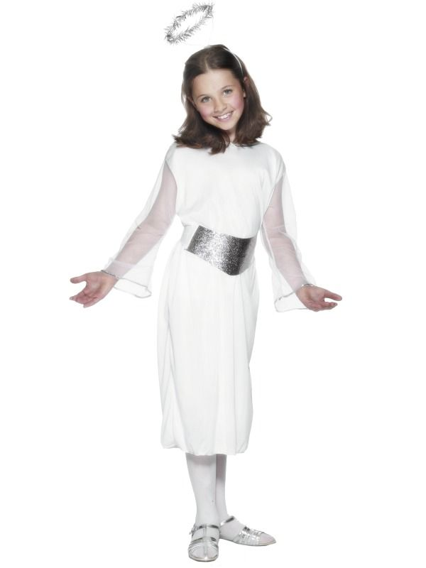 Childrens ANGEL Fancy Dress Costume for Girls Buy Online at Cosmetics4uOnline with UK Next Working Day Delivery Available - Childrens ANGEL Fancy Dress Costume for Girls - Angel Costume - Child, With Dress, Belt and Halo - Sizes : Small Age 3-5 Years, Medium 6-8 Years, Large 9-12 Years - Perfect for Christmas School Fancy Dress Nativity Plays or Kids, Boys and Girls Dressing Up Ideas