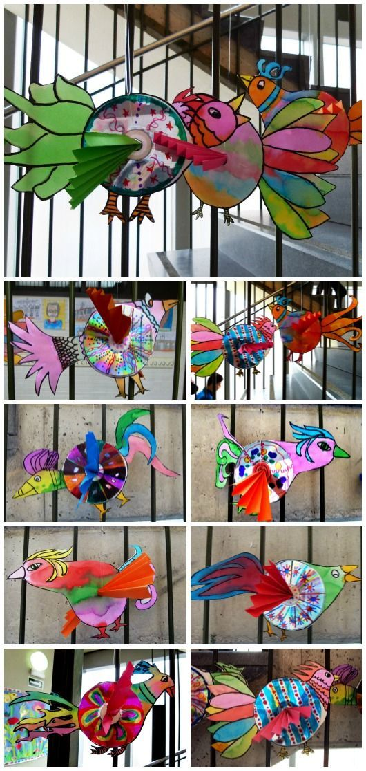 Recycled CD's into birds