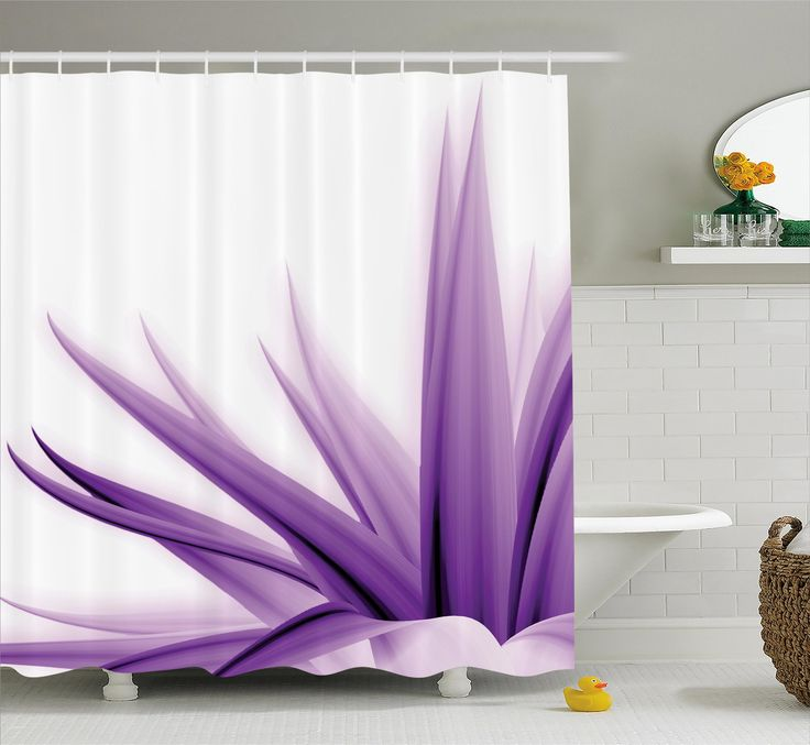 Krista Flower Purple Ombre Long Leaves Water Colored Print With Calming Details Image Shower Curtain