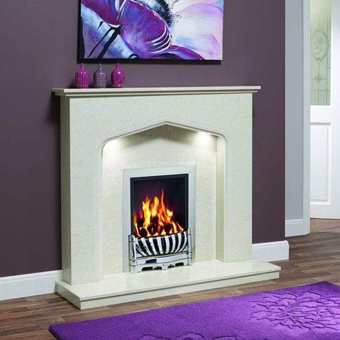 "Traditional design featuring a classic Tudor arch and chamfered detailing. Supplied complete with surround, back panel and standard lipped hearth. Ideal for gas and electric fires. Piera 48"" Micro Marble Surround - JUST £799 #Fireplaces #Marble #DiscountFireplaces #Cheap #Fire #HomeImprovement #HomeDecor"