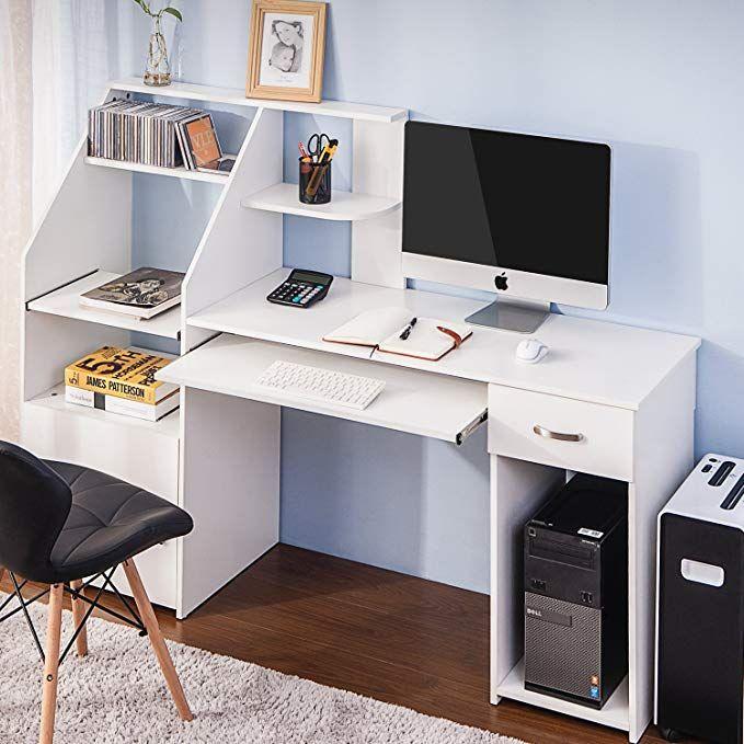 Harper Bright Designs Wf186907 Multi Functions Computer Desk With Cabinet White Desk Storage Desk Computer Desk