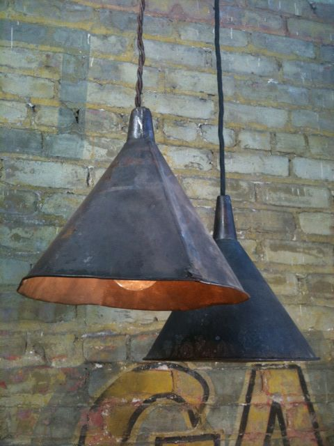 Old funnel light fixtures! Hello easy rustic vintage and so on.... beachbungalow8: a light post