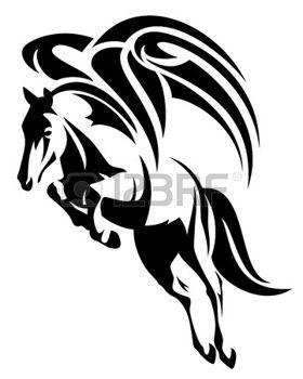 gevleugeld paard ontwerp - zwart en wit tribal stijl pegasus illustratie photo