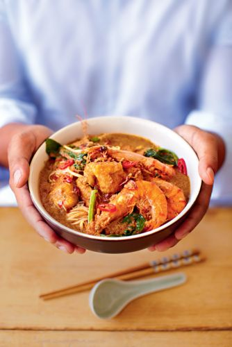 This prawn curry laksa from Norman Musa's Amazing Malaysian has quickly become a classic, staple dish in our home. The blend of spices and heat from the dried chillies, together with the coconut milk, makes the dish creamy and aromatically spicy.