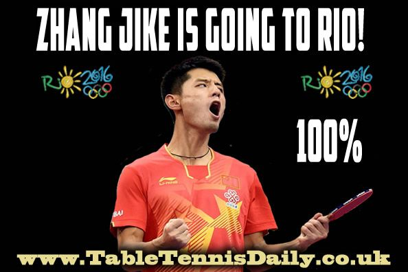 Zhang Jike CONFIRMED and will play singles at Rio Olympics 2016!