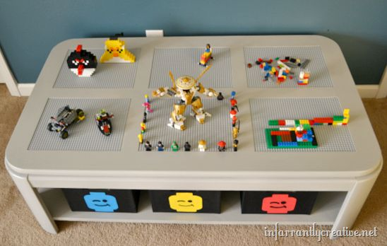 DIY Lego table from an old parquet table with glass insets--great idea for Legos storage and playing!