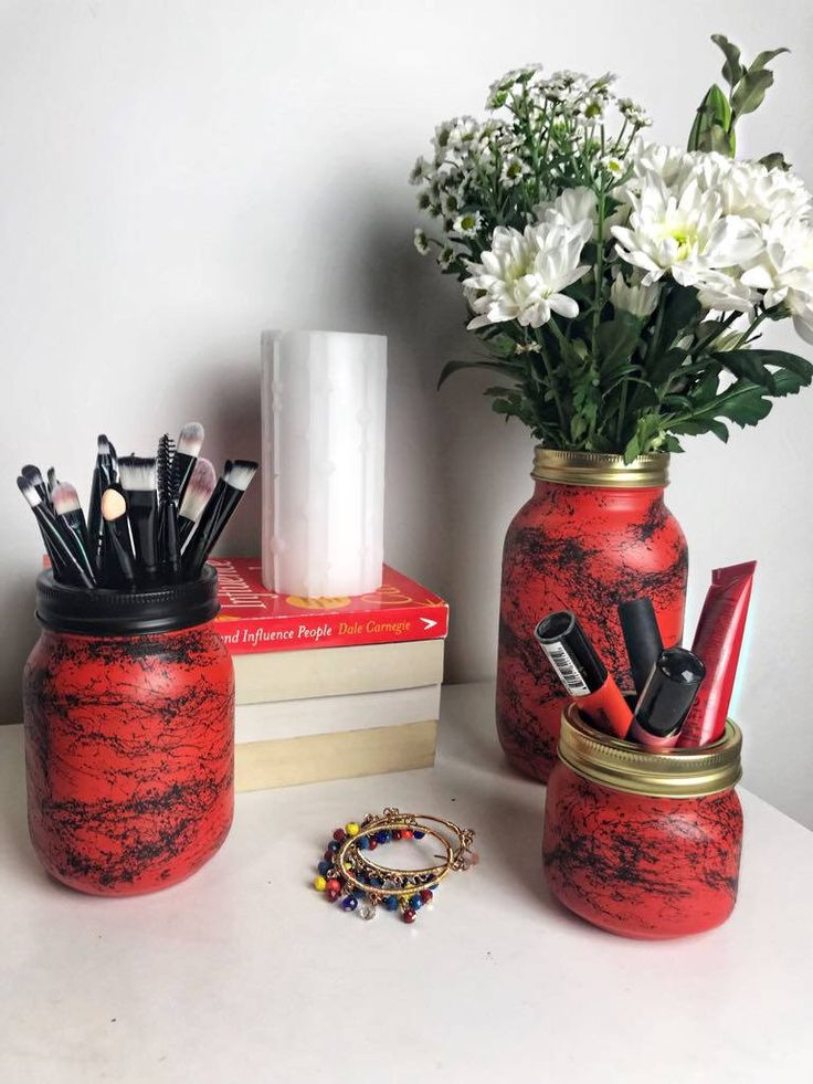 Excited to share the latest addition to my #etsy shop: Red & Black Marble Mason Jar - Red Flower Vase - Makeup Brush Holder - Dorm decor - Makeup Storage - Stationary storage - Desk decor #housewares #vase #bedroom #redmasonjar #blackmarble #makeupstorage #makeupbrushholder #masonjar #nurserydecor