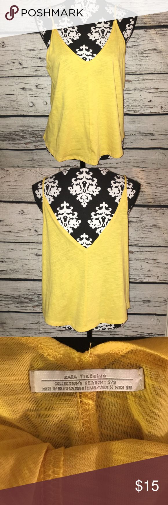 Zara Trafaluc Mustard Spaghetti Strap Tank Top 🌼 Excellent used condition, no flaws. Size small. Zara Tops Tank Tops