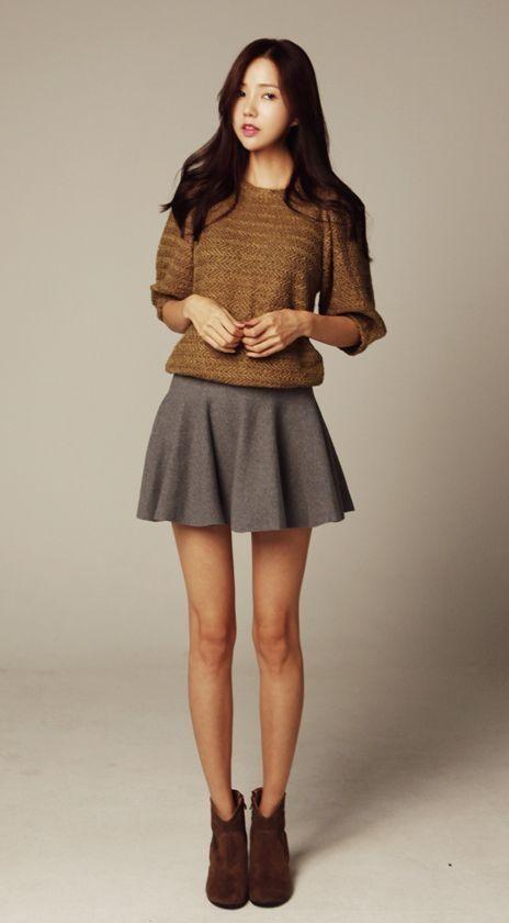 korean fashion casual skirt sweater shoes