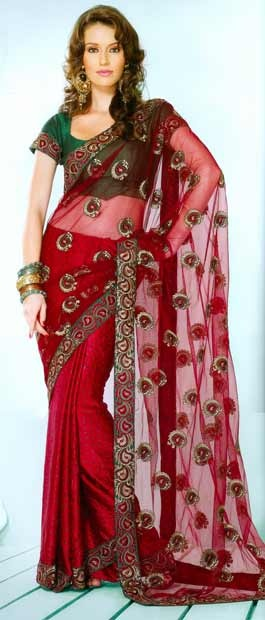 #Red Faux Crepe and Net #Saree with #Blouse @ $64.66 | Shop Here: http://www.utsavfashion.com/store/sarees-large.aspx?icode=syc1590 #netsaree #snapdeal #India