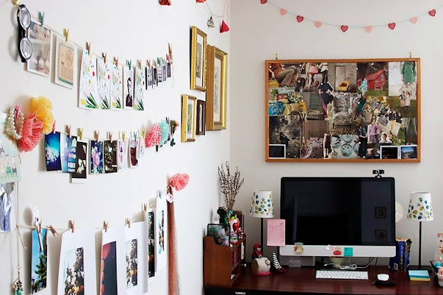 clothes pins and a bulletin board