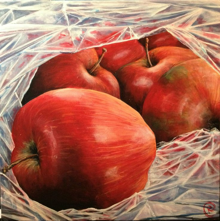 """""""Apples in a plastic bag"""" Acrylic on Canvas 60x60 www.ricasso.se"""