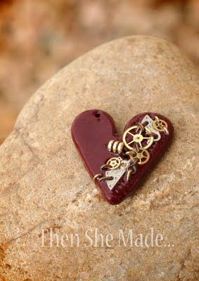 Then she made - Steampunked clay heart pendant