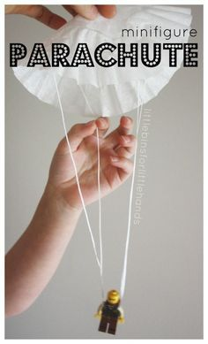 Lego Minifigure Parachute Coffee Filter Parachute Activity for Kids. Fun science and STEM activity for kindergarten and grade school age kids. Screen free activity.