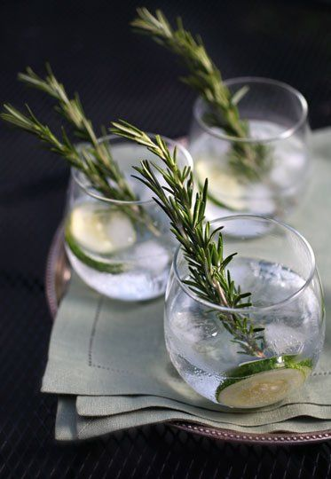Cucumber-Rosemary Gin and Tonic: Hendrick's Gin, tonic, cucumber, lime, rosemary sprig.