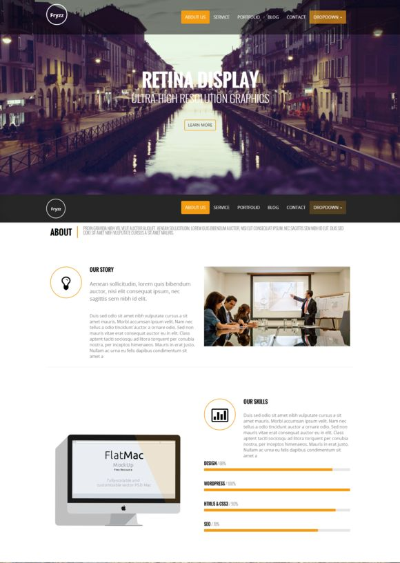 Check out Fryzz - One Page Parallax Responsiv by Newsky Themes on Creative Market