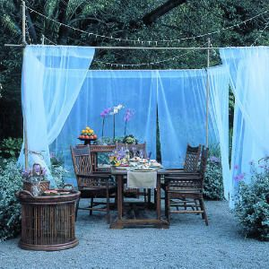 Build a portable dining retreatBuild an open-air dining roomSheer Curtains, Outdoor Fabrics, Outdoor Parties, Outdoor Room, Pvc Pipe, Diy Home, Outdoor Spaces, Outdoor Curtains, Backyards
