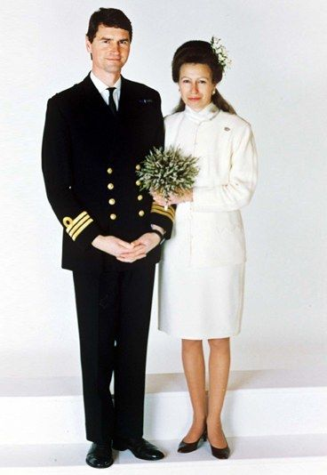 Princess Anne and Timothy Laurence official wedding photo. Anne's relationship with Naval Commander Laurence became known in April 1989 when letters from the Commander were stolen from the Princess' briefcase and passed on to newspapers. Four months later Anne announced her separation from Mark Phillips. They divorced in 1992.
