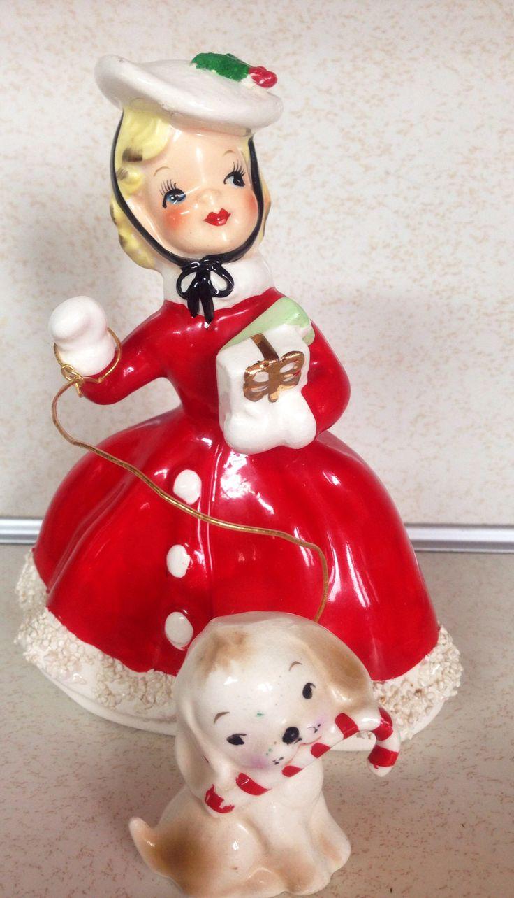 Vintage Christmas Norcrest shopper girl lady puppy candycane figurine