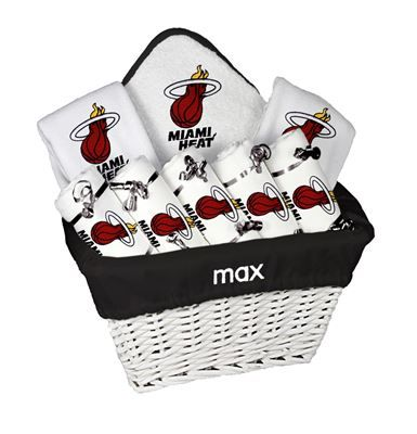 9 best tampa bay lightning baby gifts images on pinterest baby our personalized miami heat large gift basket is a perfect baby gift with 2 burp cloths and a bib personalized with the team logo negle Images