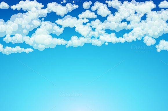 Vector clouds. Cartoon clouds. by Rommeo79 on @creativemarket