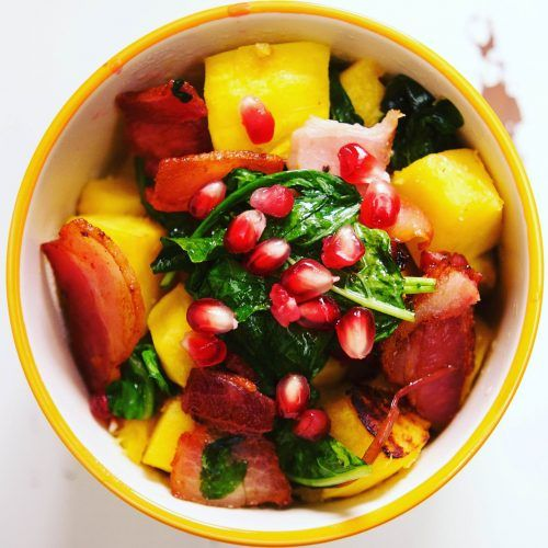 Orange Roasted Acorn Squash with Bacon, Spinach and Pomegranate {Low FODMAP, Paleo, Gluten-free, Dairy-free, AIP}