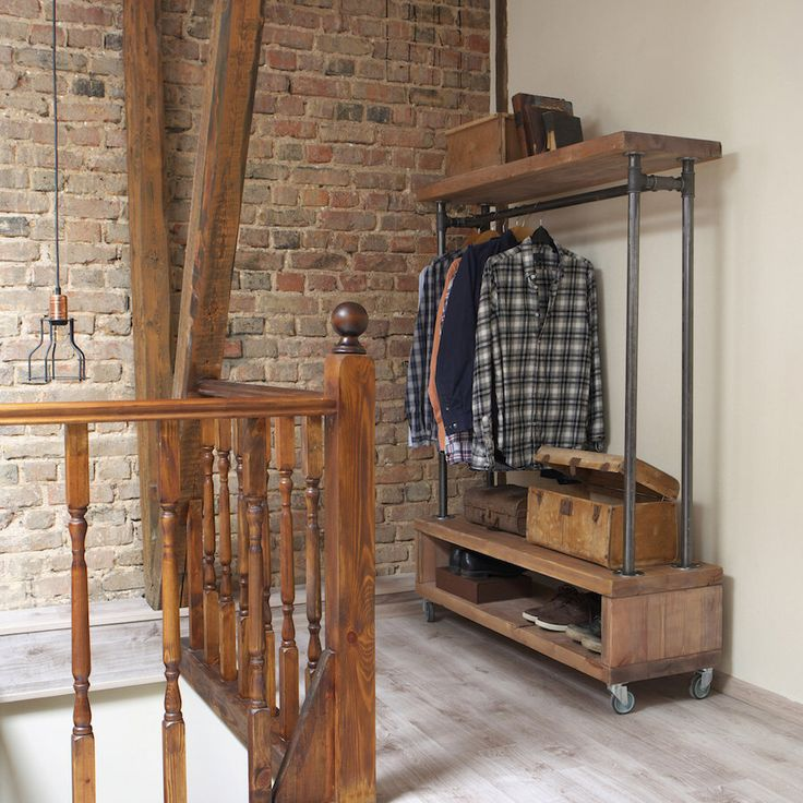 Industrial Style Wooden Metal Clothes Rail Rack Stand