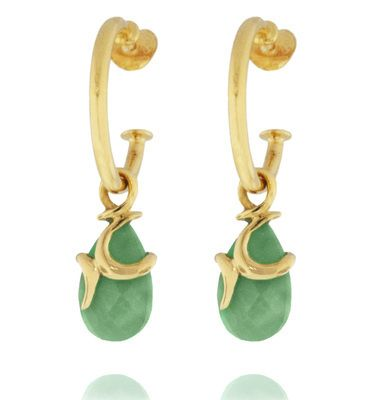 These are not traditional hoop earrings.  The gemstone is held by 18carat gold vermeil detail and suspended on a hoop.  The stone is not fixed, instead can move slightly, capturing the light through the Chrysoprase gemstone.  Intriguning and unusual.  Total length 38mm  Teardrop gemstone 15 x 8mm