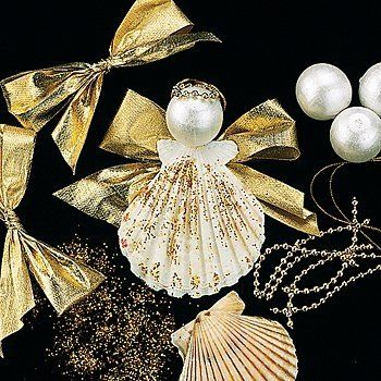 All it takes is some glue, glitter, ribbons and pearl baubles to make a shell angel