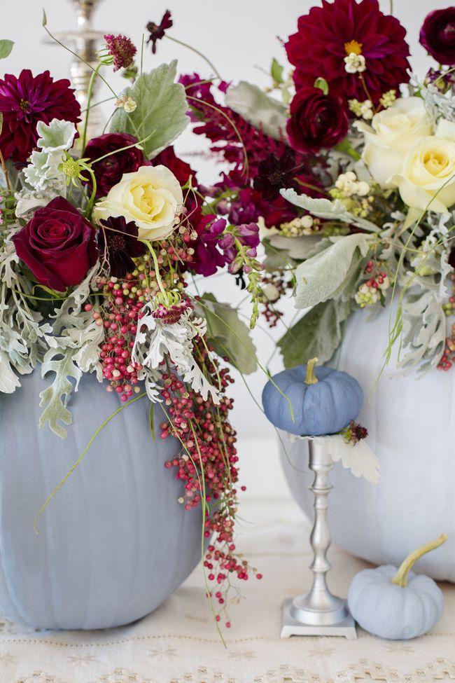 Dusty blue and cranberry fall decor pumpkins wedding
