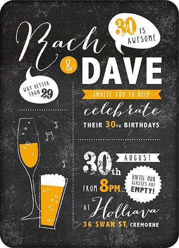30th birthday invitation. www.littlejackrabbits.com