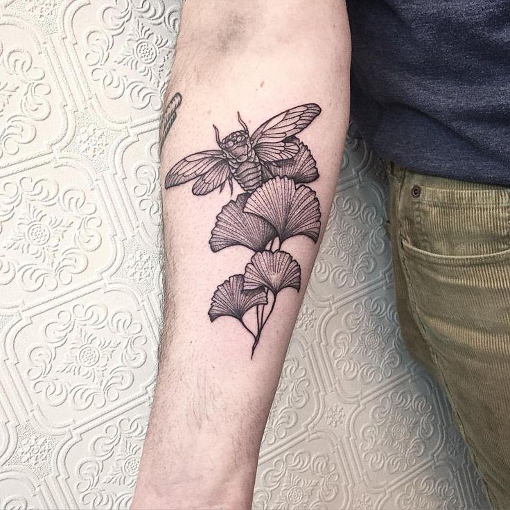 Cicada and Ginkgo Leaves- thanks again Tom #tattoo #blacktattoo #blackworker…