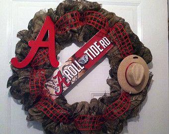 Camoflauge Alabama Roll Tide Burlap Wreath,Camo Bama Wreath,Camo Burlap Wreath,Camo Bama Burlap Wreath, Bama Camo Wreath,Camo Wreath