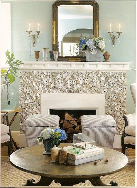 Oyster shell fireplace: Beach House, Idea, Oysters, Fireplaces, Living Room, Seashell, Oyster Shells, Beachhouse, Shell Fireplace