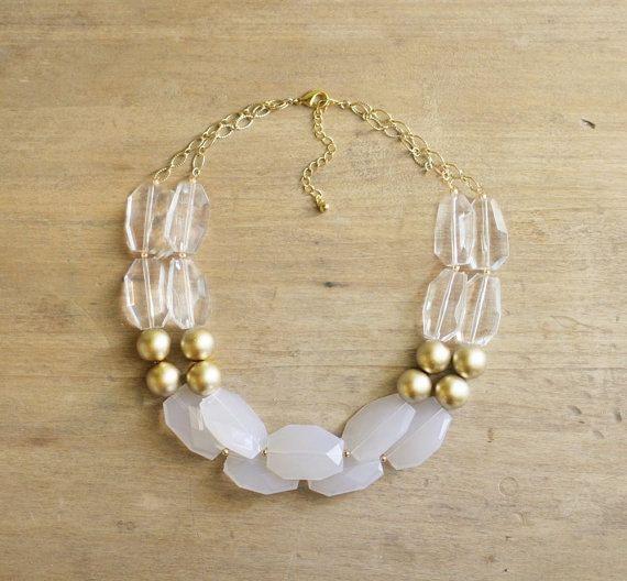 Gold klar und weiß Anweisung Halskette, Gold Perlen Collier, klare Aussage Collier, klobige Gold Kette, Neutral Multi-strängige Halskette