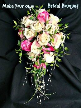 How to make your own cascading bridal bouquet from fake flowers