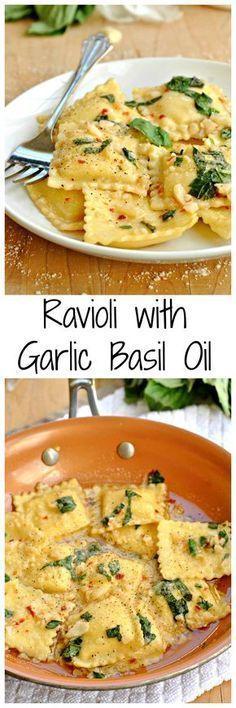 Creamy cheese ravioli sauteed in a light sauce of garlic and basil. Ravioli with Garlic Basil Oil is a great 25 minute meal! (Bake Ravioli Skillet)