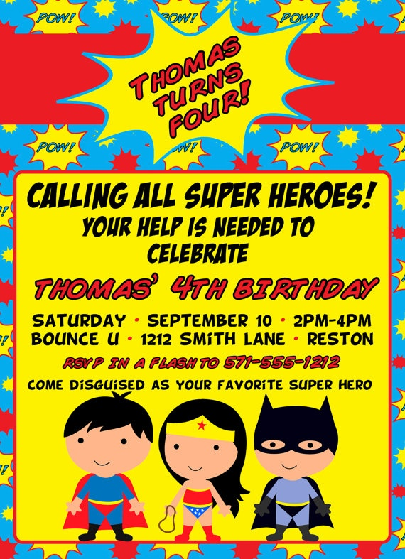 Super Hero party invitation. This is gonna be fun!