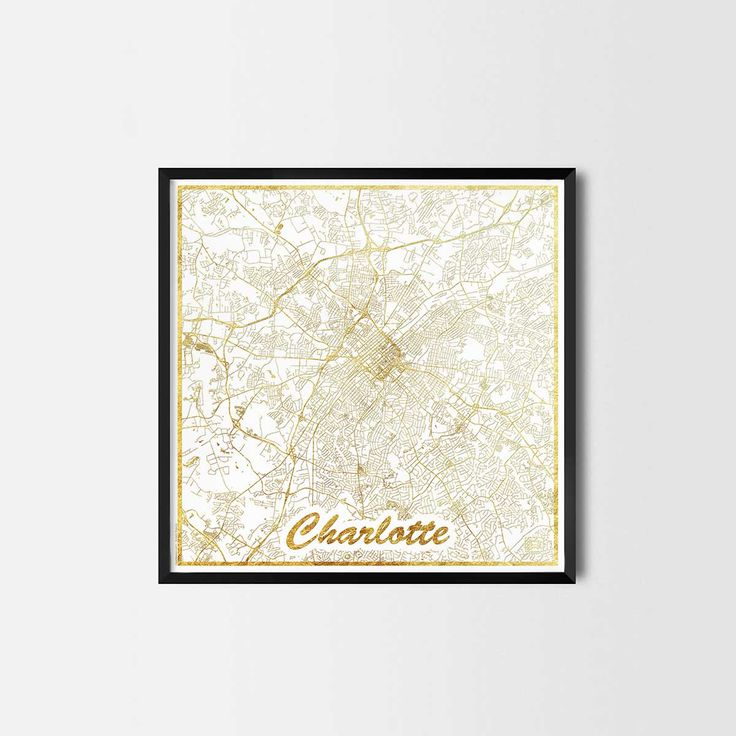 Charlotte map posters are high quality map art prints of a great city. Perfect for the house and office or as a gift for a friend. Interior gift travel