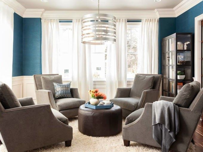 4 chairs in a circle instead of 1 big couch blue grasscloth walls velvet grey armchairs perfectly styled shelves i would definitely sit a spell in this - Matching Chairs For Living Room