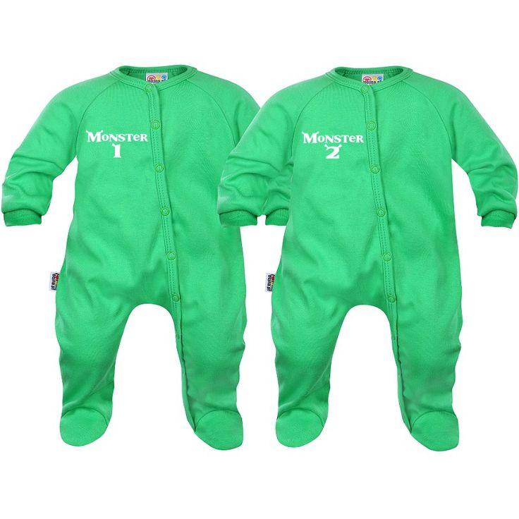 Deux pyjamas bébé jumeaux : monster 1 / monster 2 - SiMedio