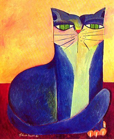 Blue cat, Aldemir Martins, 1987.                                                                                                                                                                                 Mais