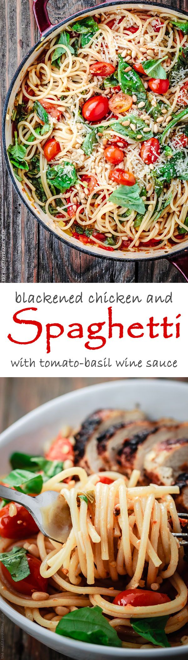 Blackened Chicken and Spaghetti Recipe with Tomato-Basil Wine Sauce. Easy chicken and spaghetti dinner w/ a light sauce, fresh tomatoes and herbs! Delicious