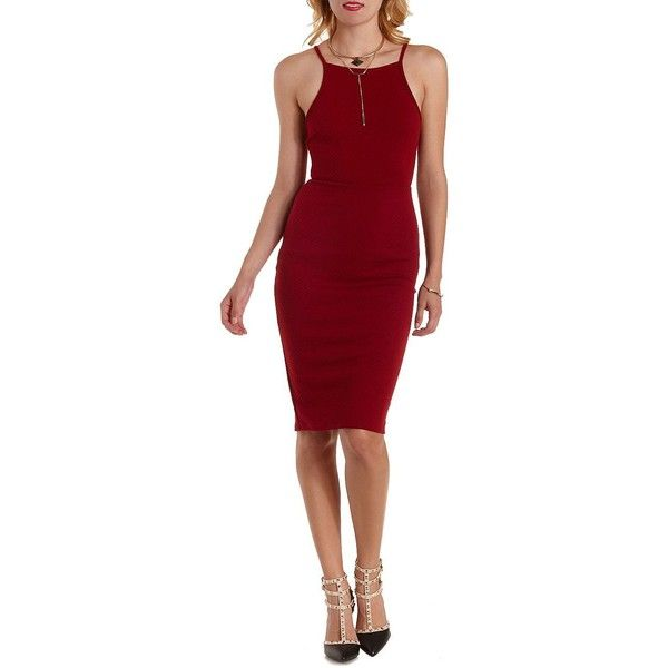 Charlotte Russe Oxblood Knit Midi Dress by Charlotte Russe at... ($25) ❤ liked on Polyvore