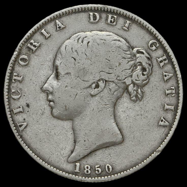 1850 Queen Victoria Young Head Silver Half Crown, Scarce, GF / AVF